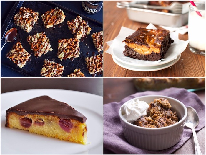 photo collage, four different desserts, thanksgiving cake ideas, with chocolate