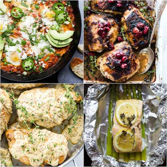 photo collage, healthy meal prep ideas for weight loss, different meals, salmon and lemon, meat with veggies