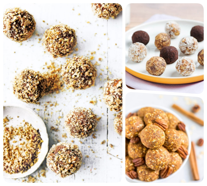 different bites, protein bites recipe, covered with nuts, coconut flakes, cinnamon sticks, wooden table