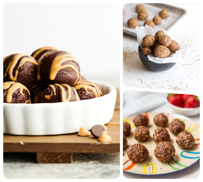 peanut butter drizzle, chocolate truffles, with nuts, in different bowls, energy balls recipe, photo collage