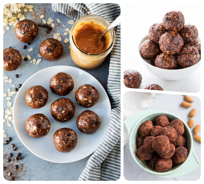 photo collage, chocolate truffles, with chocolate chips, covered in cocoa, white and blue bowls, protein bites recipe