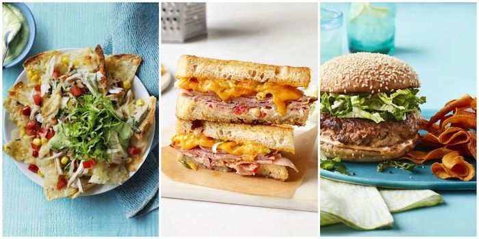 photo collage, side by side photos, what to make for dinner tonight, different ideas, nachos and burger, grilled cheese sandwich