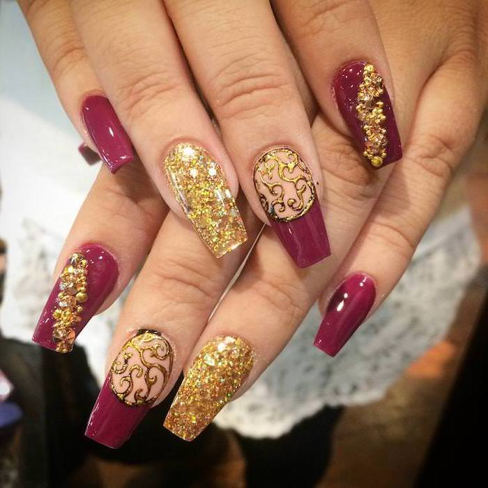 gold glitter, dark purple, nail polish, nail decorations, light nail colors, long coffin nails