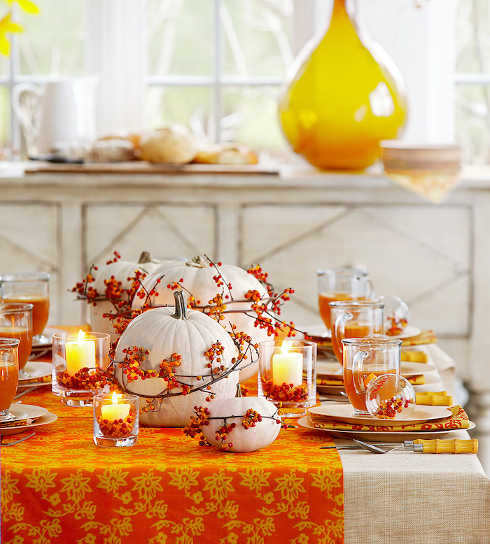 thanksgiving door decor, orange table runner, white pumpkins, pinterest thanksgiving, plate settings, candles inside vases