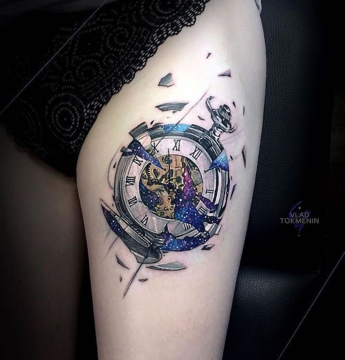 pocket watch breaking away, galaxy inside, colored tattoo, lace pants, black background, rose thigh tattoo