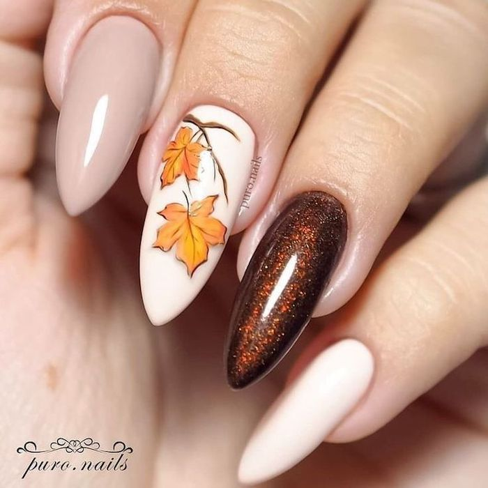 white and grey, brown glitter, nail polish, fall leaves, nail decoration, neutral nail colors, long almond nails