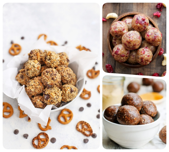 pretzels scattered around a white table, oatmeal bites, protein bites recipe, white bowls, wooden table