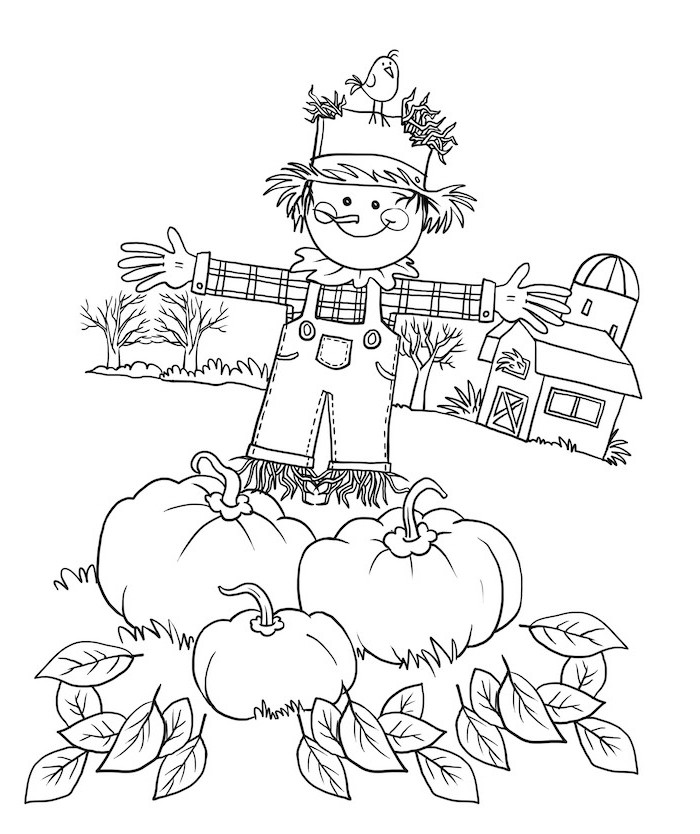 scarecrow and bird, pumpkins around it, fall leaves, turkey coloring pages, barn and trees, in the background