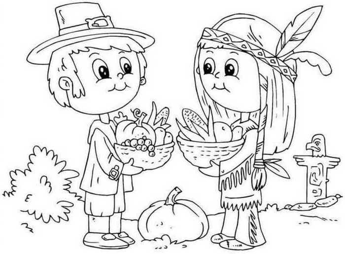 boy and girl, carrying baskets, full of fruits, free thanksgiving coloring pages, native american