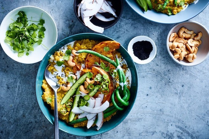 pumpkin squash, with cucumbers and beans, in a blue bowl, what to make for dinner tonight, granite countertop