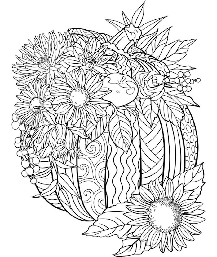 turkey pictures to color, pumpkin with floral motifs, flowers coming out of it, black and white sketch