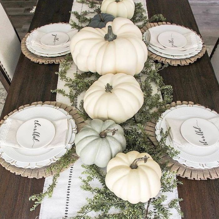 pumpkins arranged as table runner, thanksgiving door decor, white table runner, wooden table