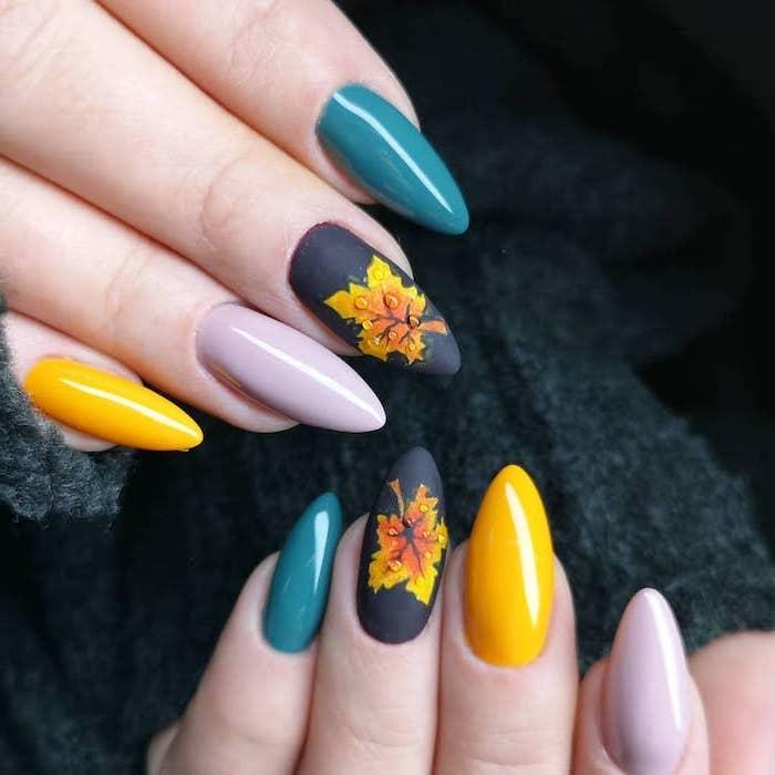 yellow and blue, purple and dark blue, nail polish, burnt orange nails, orange and yellow, fall leaves, nail decorations