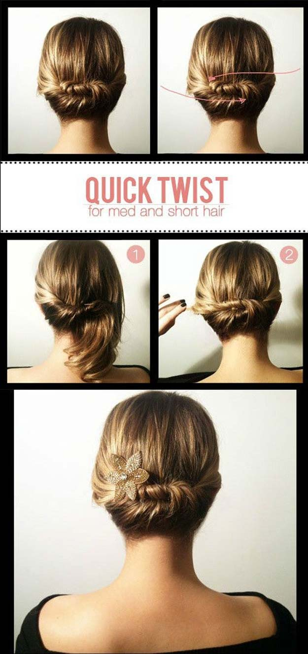 quick twist for mid and short hair, step by step, diy tutorial, shoulder length hairstyles, woman with blonde hair