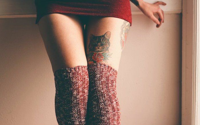 red dress, red knitted socks, leg tattoos for girls, cat portrait, red rose