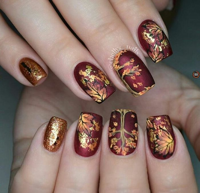 metallic burgundy red, gold glitter, nail polish, burnt orange nails, fall leaves, nail decorations