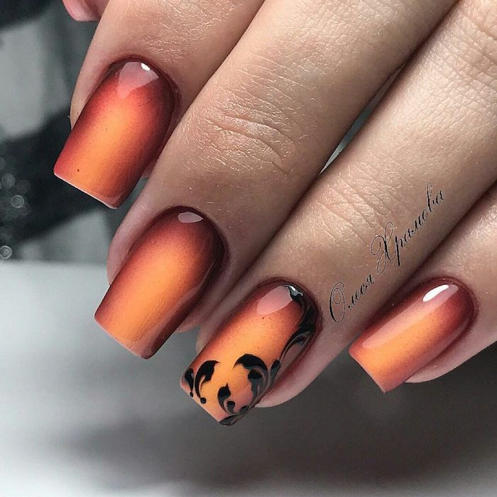 red and orange, nail polish, ombre nails, black floral design, nail decoration, square nails, thanksgiving nail colors