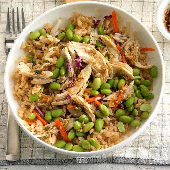 beans and rice, chicken meat, cabbage and carrots, healthy meal prep ideas for weight loss, stir fry, in white bowl