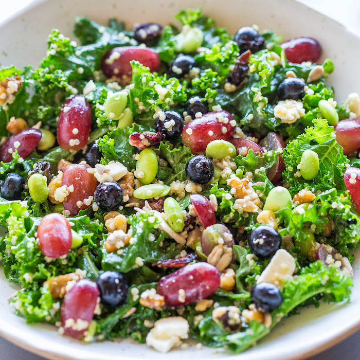 salad with quinoa, grapes and beans, in white bowl, healthy dinners for two