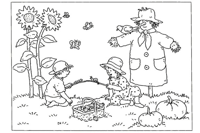 tall sunflowers, boy and girl playing, basket full of fruits, turkey pictures to color, scarecrow and bird