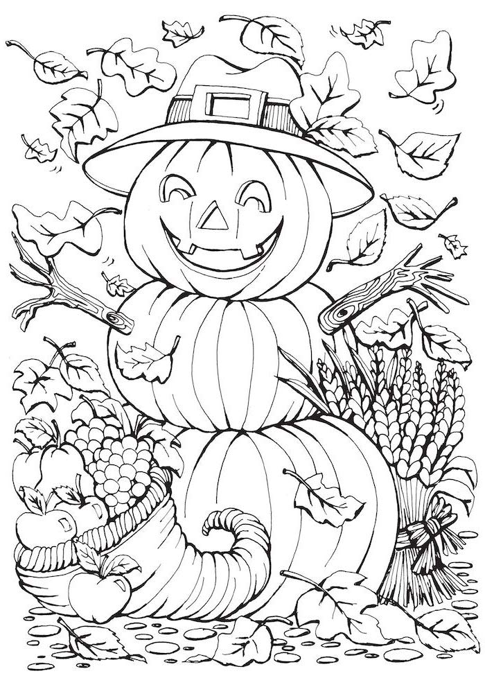 scarecrow with hat, made of three pumpkins, turkey coloring pages, fall leaves, cornucopia with fruits