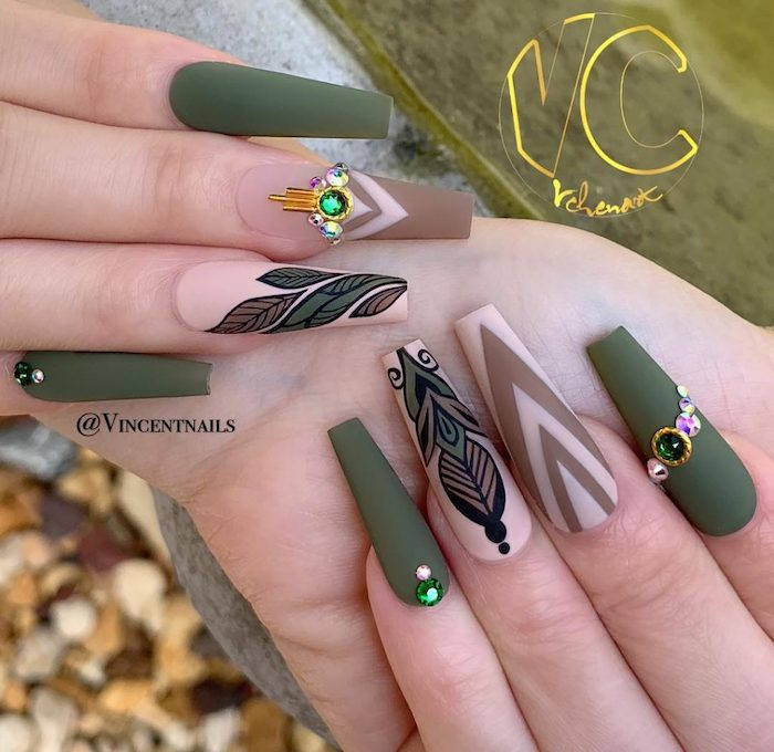 olive green, nude matte nail polish, pretty nail colors, rhinestones on the nails, long coffin nails