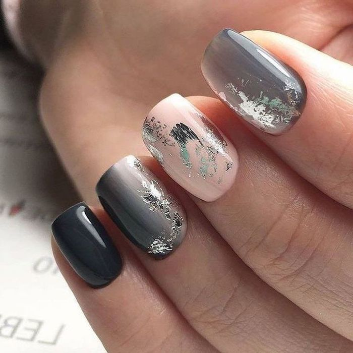 shades of grey, nail polish, silver glitter, nail decorations, pretty nail colors, short squoval nails