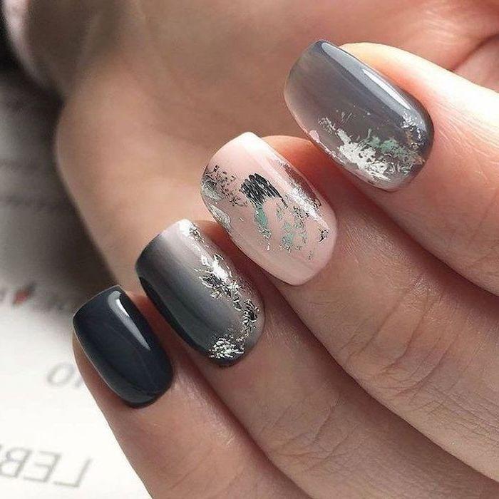 shades of grey, nail polish, silver glitter, nail decorations, pretty nail colors, short squoval nails