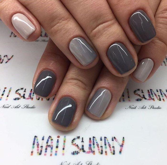 shades of grey, nail polish, short squoval nails, thanksgiving nail colors, ombre nails, white table