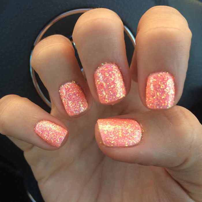 orange glitter, nail polish, september nail colors, short squoval nails, black background