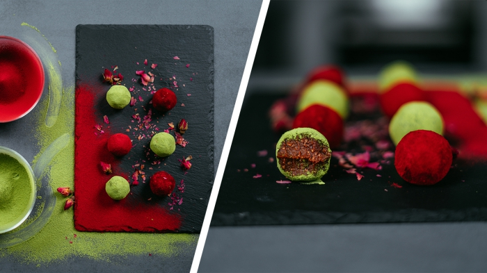 side by side photos, peanut butter protein balls, chocolate truffles, covered in cocoa, dyed in red and green