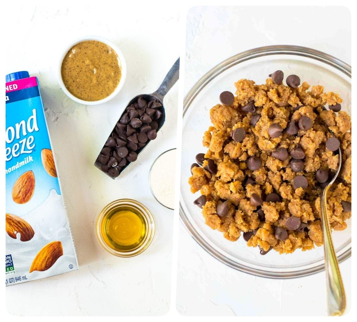 almond milk, ingredients in glass bowl, mixed together, with chocolate chips, chocolate peanut butter protein balls
