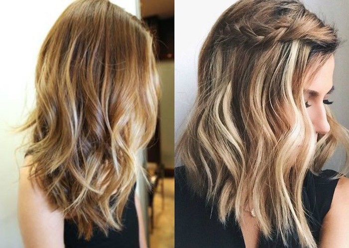 side by side photos, two different hairstyles, on a blonde balayage hair, medium length hairstyles with bangs