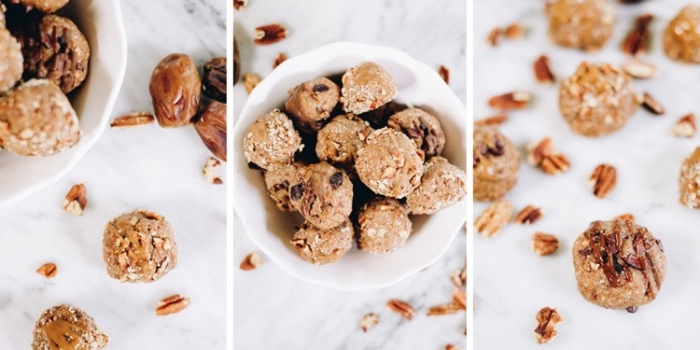 side by side photos, energy bites, peanut butter truffles, with dates and walnuts, scattered around