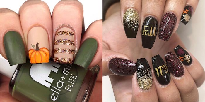 side by side photos, pretty nail colors, olive green, nail polish, pumpkin nail decoration, red glitter, black nail polish