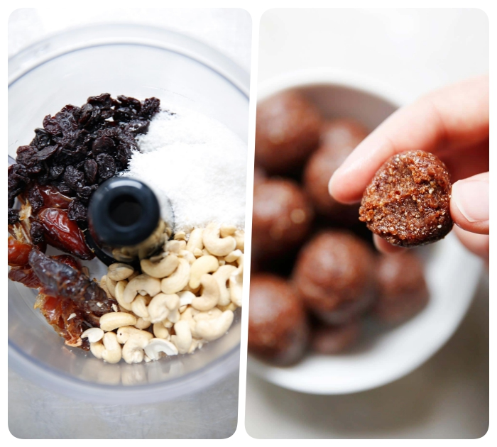 dates and peanuts, mixed together in a blender, chocolate peanut butter protein balls, side by side photos