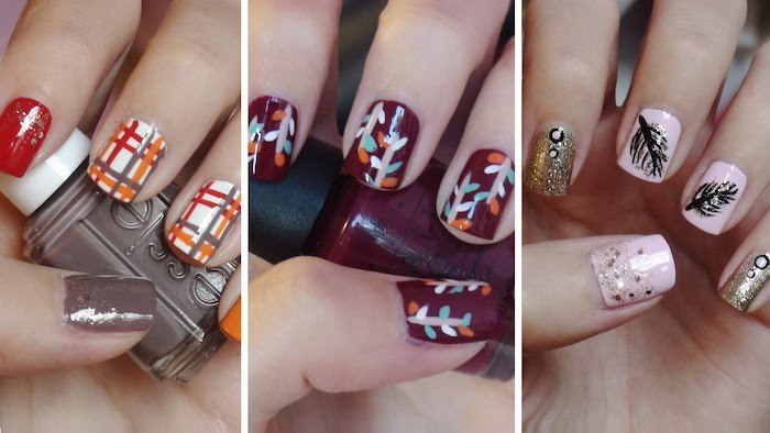 side by side photos, three different manicures, september nail colors, different nail decorations, short nails