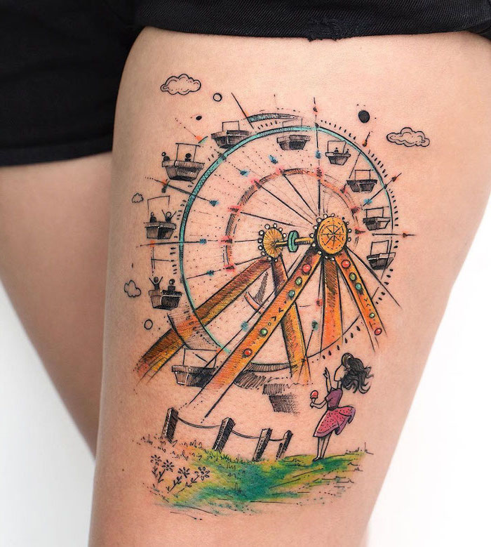 ferris wheel, little girl, holding ice cream, dressed in pink, sexy tattoos for women, black shorts, white background