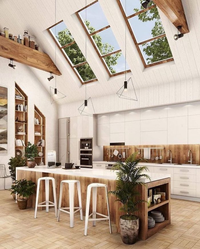how to vault a ceiling, white ceiling with skylights, wooden kitchen islands, white bar stools, open shelving