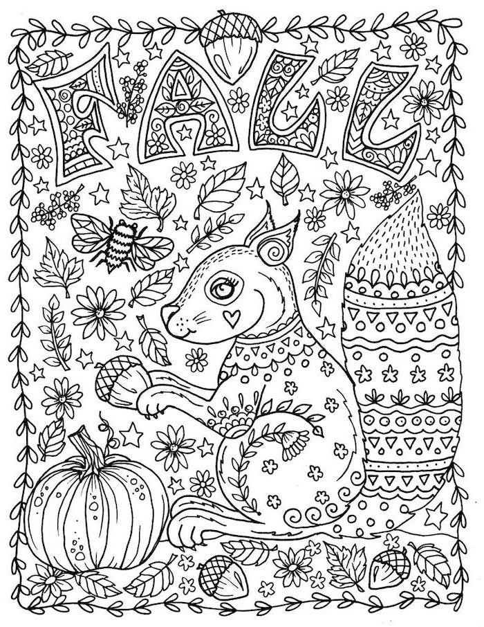 thanksgiving coloring sheets, squirrel holding an acorn, fall leaves and flowers, pumpkin at the corner