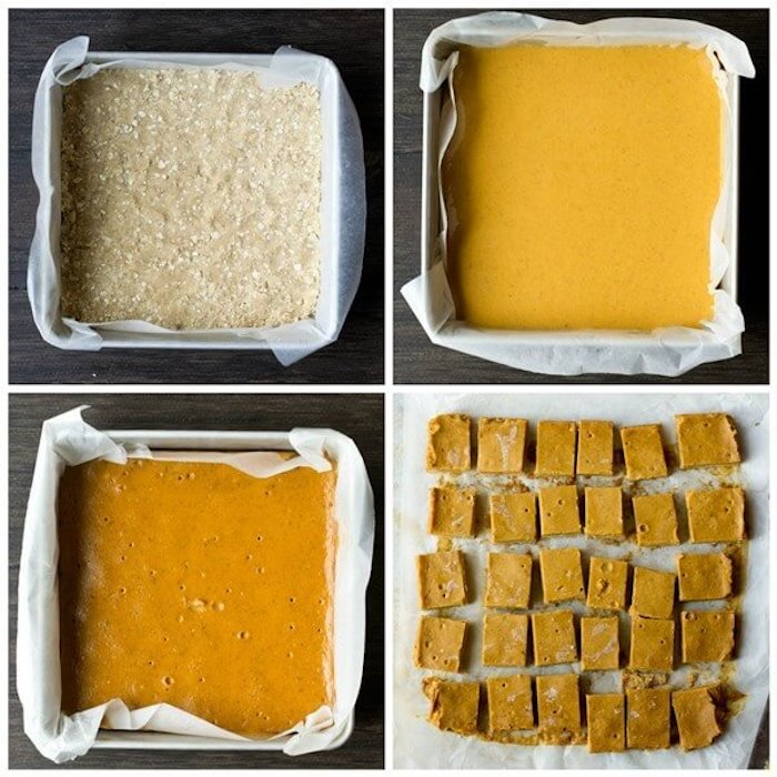 photo collage, pumpkin pie bites, baked in a square trey, easy thanksgiving desserts, step by step, diy tutorial