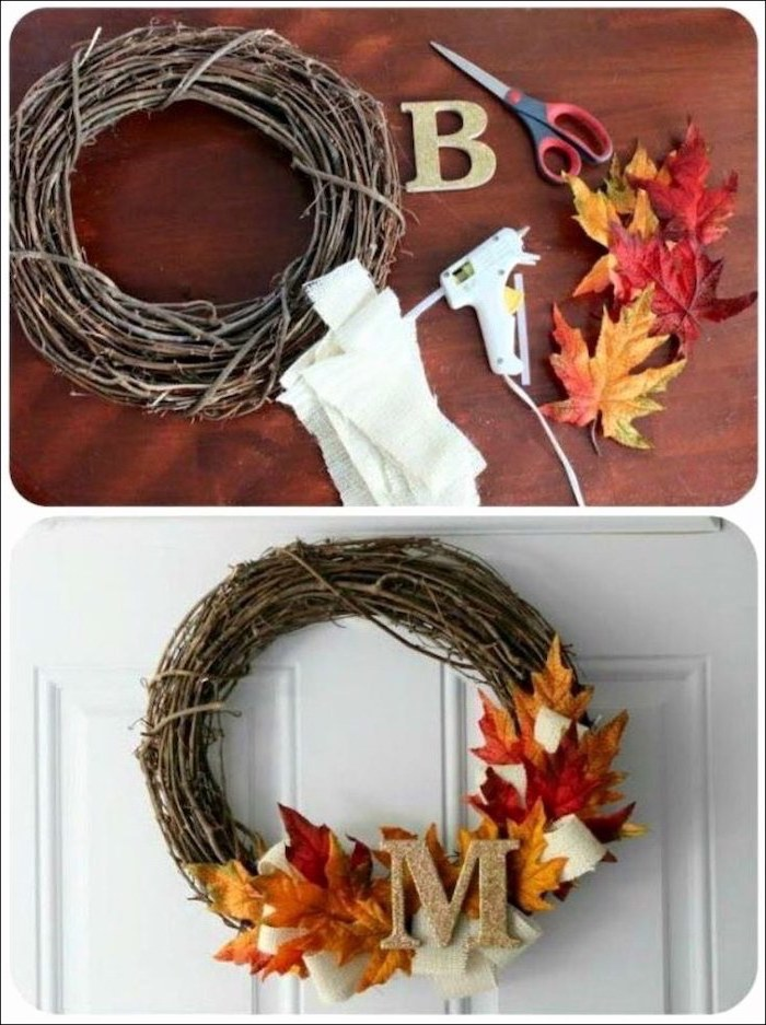 step by step, diy tutorial, photo collage, wooden wreath, with fall leaves, thanksgiving door decor