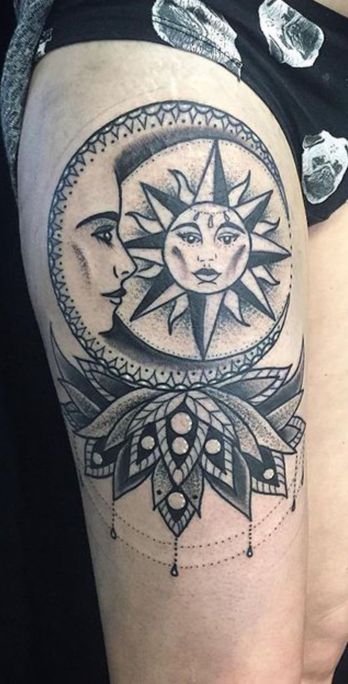 Lotus Flower Mandala Tattoo Thigh Novocom Top