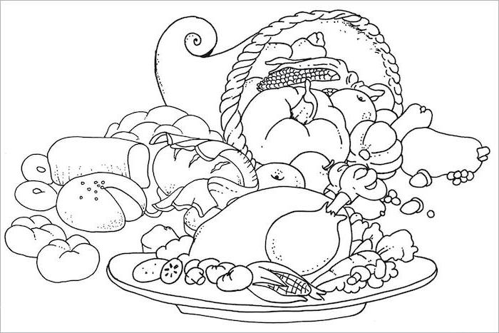 thanksgiving pictures to color, cornucopia full of fruits, roasted turkey, black and white sketch, baked bread