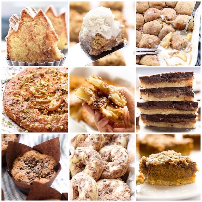 different deserts, tarts and cakes, donuts and pies, best thanksgiving pies, photo collage