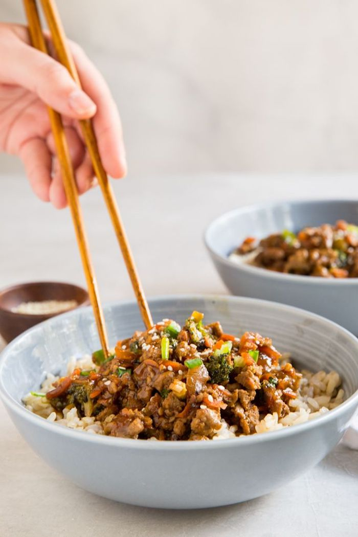 dinner ideas for two, teriyaki turkey, rice bowl, wooden chopsticks, dinner ideas for two, white table
