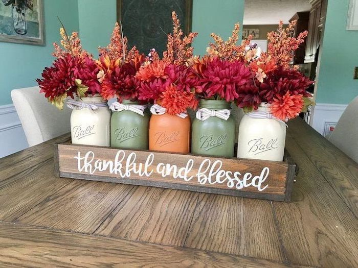 mason jars, painted in white green and orange, flower bouquets, inside wooden crate, thankful and blessed, thanksgiving home decorations