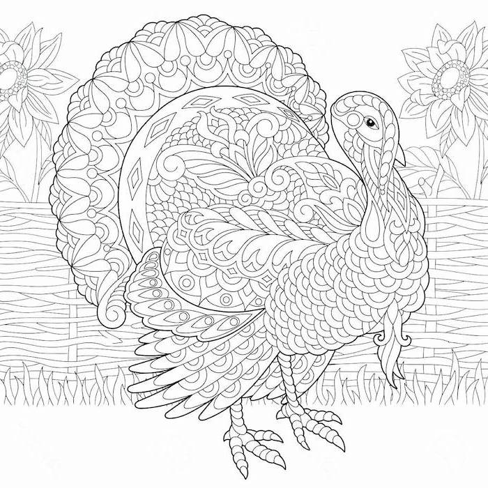turkey with floral motifs, thanksgiving coloring sheets, large sunflowers, black and white sketch