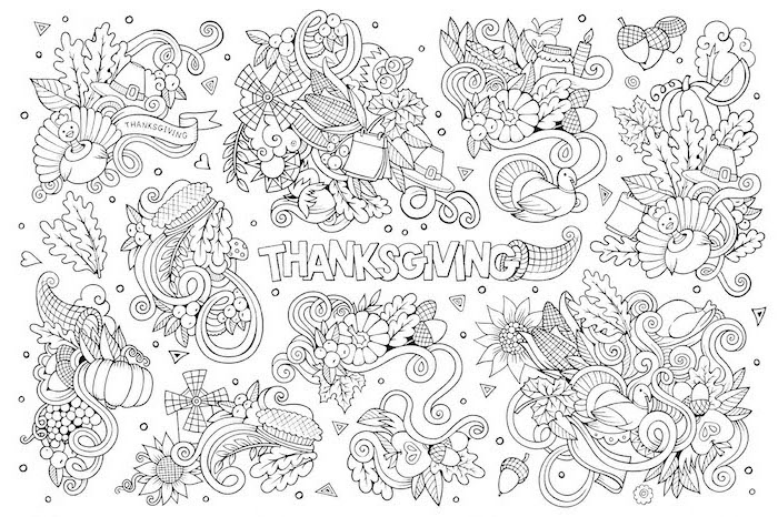 fall leaves, turkeys and pumpkins, acorns and cornucopias, thanksgiving pictures to color, black and white sketch