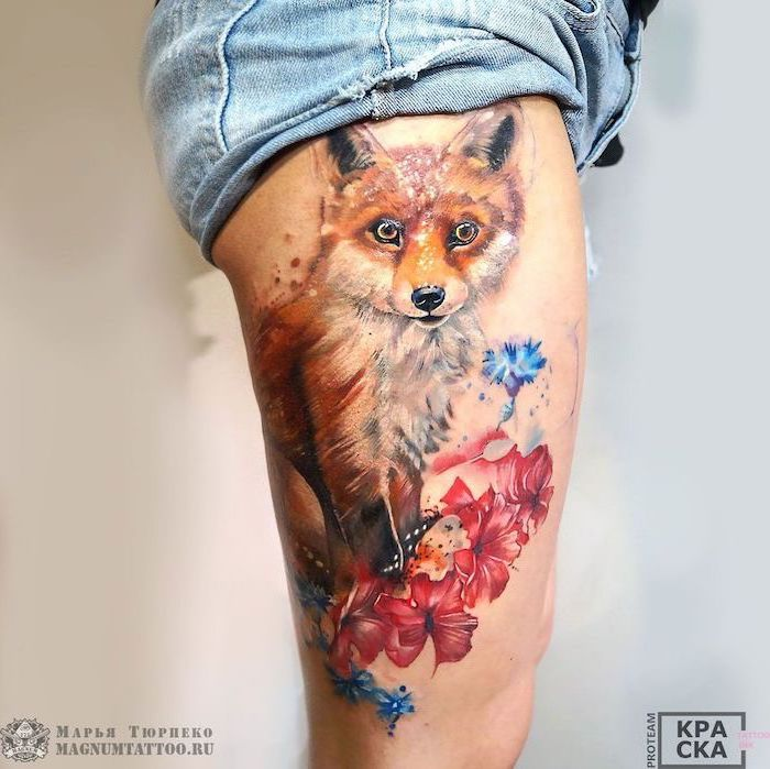 denim sorts, watercolor tattoo, sexy tattoos for women, fox surrounded by flowers, blue and pink